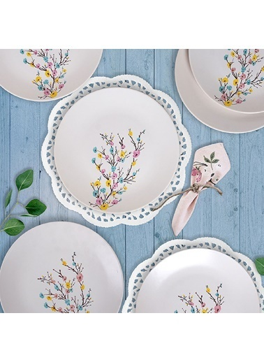 Keramika İlkbahar Tomurcuk Servis Tabağı 26 Cm 6 Adet Renkli